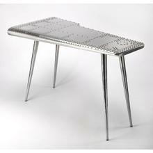 Product Image - This Pub Table is riveting; soaring with the flair of an airplane wing and guaranteed to help a room soar to new heights. Crafted from polished aluminum and rivets; which detail this shimmering pub table which soars atop four matching taper legs that guarantee a smooth landing. This will move your guests to a higher altitude of envy.