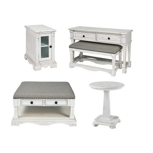 Square Upholstered Cocktail Table - Chalk Finish