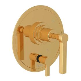 Lombardia Pressure Balance Trim with Diverter - Italian Brass with Metal Lever Handle