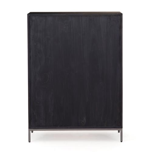 Black Wash Poplar Finish Trey 5 Drawer Dresser