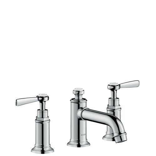 Stainless Steel Optic 3-hole basin mixer 30 with lever handles and pop-up waste set