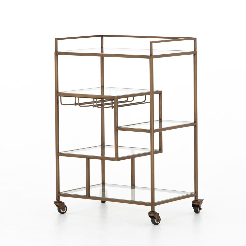 Antique Brass Finish Helena Bar Cart