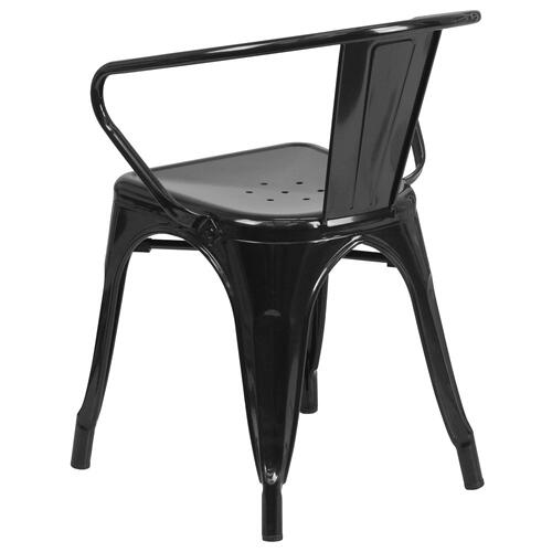 Black Metal Indoor-Outdoor Chair with Arms