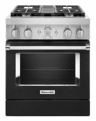 KitchenAid™ 30'' Smart Commercial-Style Dual Fuel Range with 4 Burners - Imperial Black