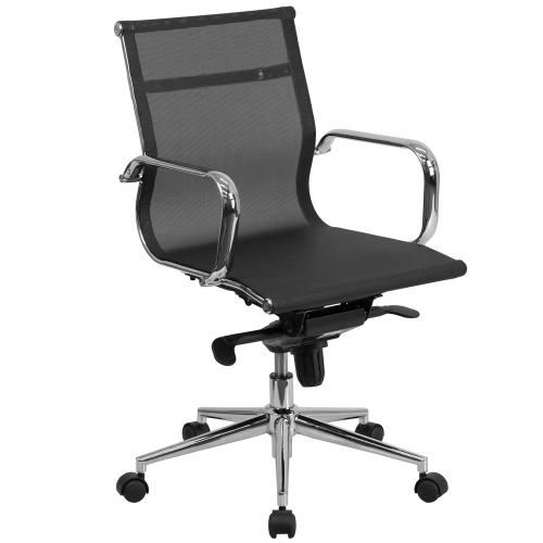 Mid-Back Transparent Black Mesh Executive Swivel Chair with Synchro-Tilt Mechanism and Arms
