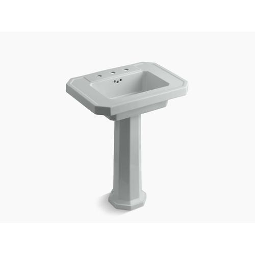 "Ice Grey Pedestal Bathroom Sink With 8"" Widespread Faucet Holes"
