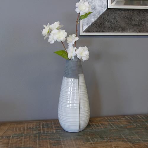 Howard Elliott - Rolled Two Tone Gray Vase, Medium