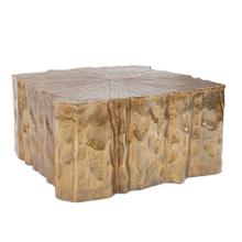See Details - Antique Brass Faux Bois Coffee Table