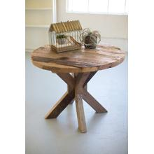See Details - round recycled wood dining table