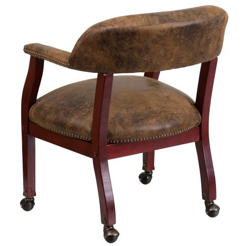 Alamont Furniture - Bomber Jacket Brown Luxurious Conference Chair with Accent Nail Trim and Casters