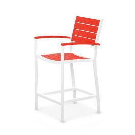 Polywood Furnishings - Eurou2122 Counter Arm Chair in Satin White / Sunset Red