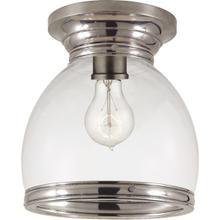 E. F. Chapman Edwardian 1 Light 10 inch Antique Nickel Flush Mount Ceiling Light in Clear Glass, Open Bottom