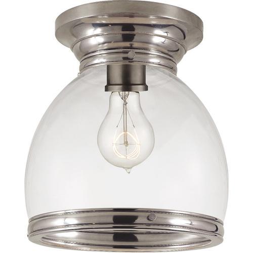 - E. F. Chapman Edwardian 1 Light 10 inch Antique Nickel Flush Mount Ceiling Light in Clear Glass, Open Bottom