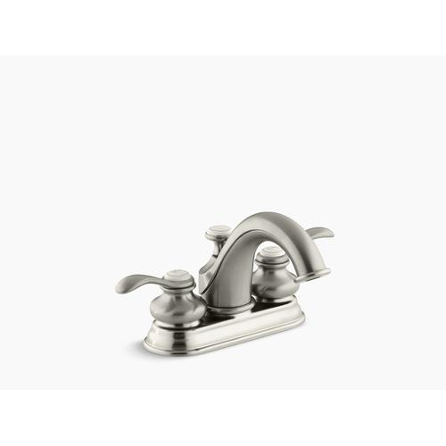 Vibrant Brushed Nickel Centerset Bathroom Sink Faucet With Lever Handles