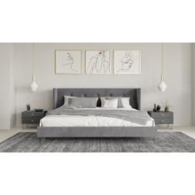 View Product - Nova Domus Bryan Modern Grey Velvet & Gold Bed