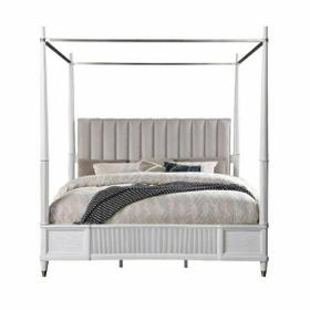 ACME Celestia Queen Bed (Canopy) - 22120Q - Coastal - Fabric, Wood (Solid Poplar), Wood Veneer (Oak), Poly-Resin, MDF, Ply, PB - Fabric and Off White