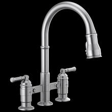 Arctic Stainless Two Handle Pull-Down Bridge Kitchen Faucet
