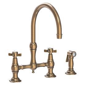 Antique Brass Kitchen Bridge Faucet with Side Spray