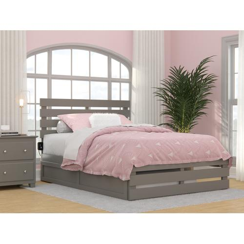 Oxford Full Bed with Footboard and USB Turbo Charger with Twin Trundle in Grey