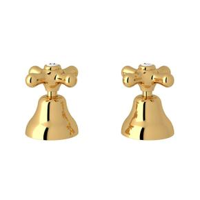 Verona Deck Mount Set of Hot and Cold 1/2 Inch Sidevalves - Italian Brass with Cross Handle
