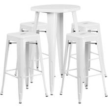 24'' Round White Metal Indoor-Outdoor Bar Table Set with 4 Square Seat Backless Stools