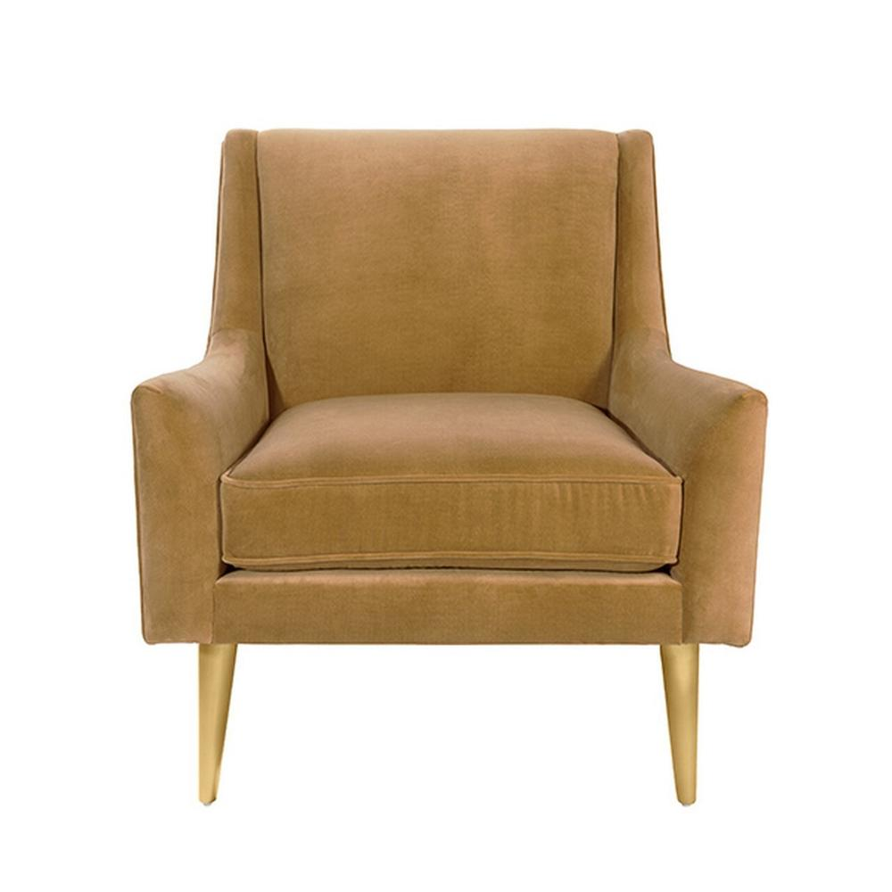 Lounge Chair With Brass Legs In Camel Velvet