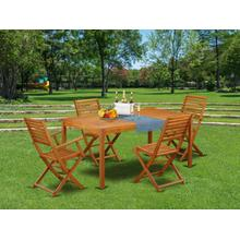 This 5 Piece Acacia Backyard Sets includes one Outdoor-Furniture table and Two side foldable chairs plus 2 arm foldable Outdoor-Furniture chairs