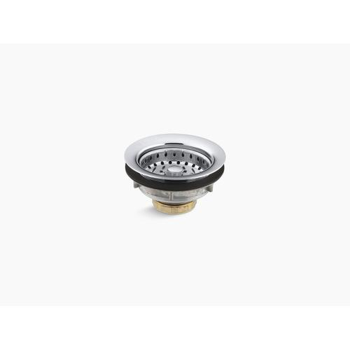 """Polished Chrome Stainless Steel Sink Strainer for 3-1/2"""" To 4"""" Outlet"""