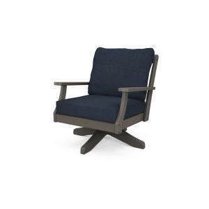 Polywood Furnishings - Braxton Deep Seating Swivel Chair in Vintage Coffee / Marine Indigo