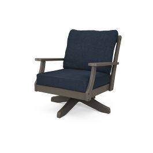 Braxton Deep Seating Swivel Chair in Vintage Coffee / Marine Indigo