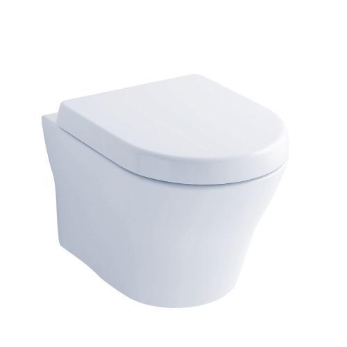 MH® Wall-Hung Dual-Flush Toilet 1.28 GPF & 0.9 GPF D-Shaped Bowl - Cotton
