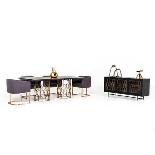 VIG Furniture - Modrest Natalie Modern Black Acacia & Antique Brass Buffet