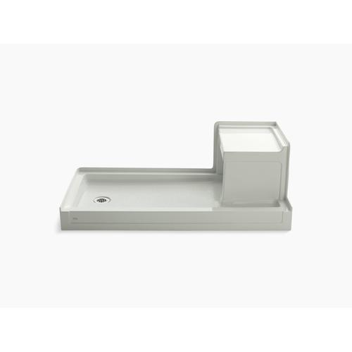 "Ice Grey 60"" X 32"" Single Threshold Left-hand Drain Shower Base With Integral Right-hand Seat"