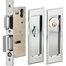 Pocket Door Lock with Traditional Rectangular Trim featuring Turnpiece and Keyed Entry in (US26 Polished Chrome Plated)