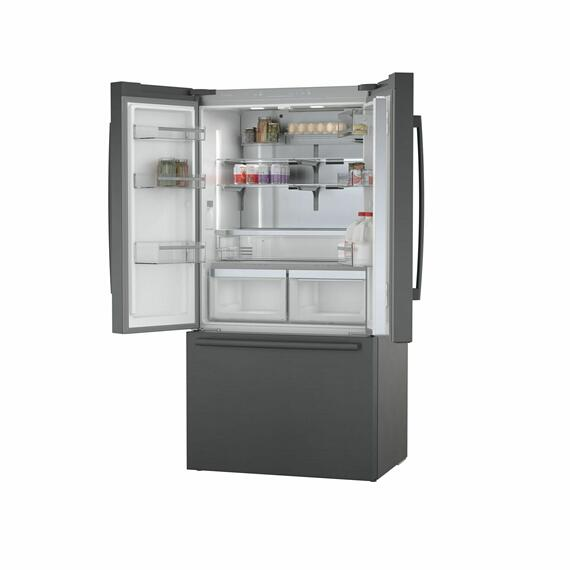800 Series French Door Bottom Mount Refrigerator 36'' Black stainless steel B36CT80SNB