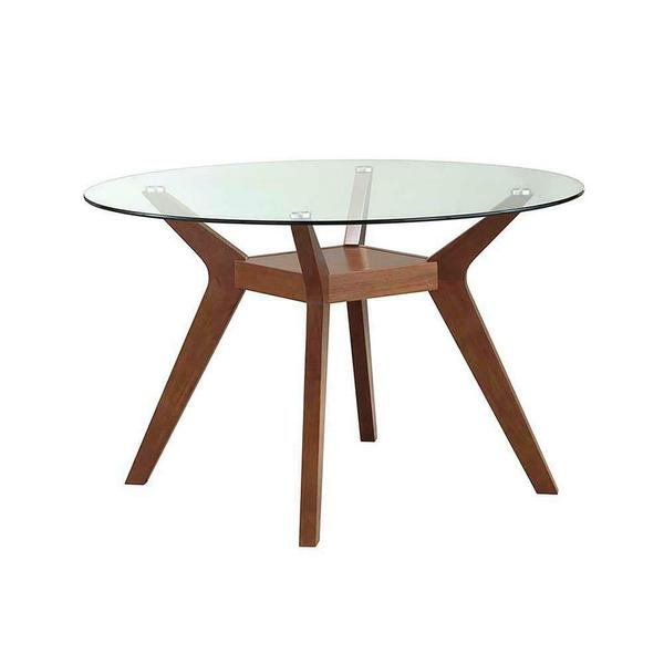 See Details - Paxton Mid-century Modern Nutmeg Glass Dining Table