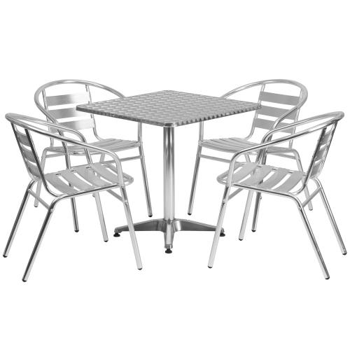 27.5'' Square Aluminum Indoor-Outdoor Table Set with 4 Slat Back Chairs