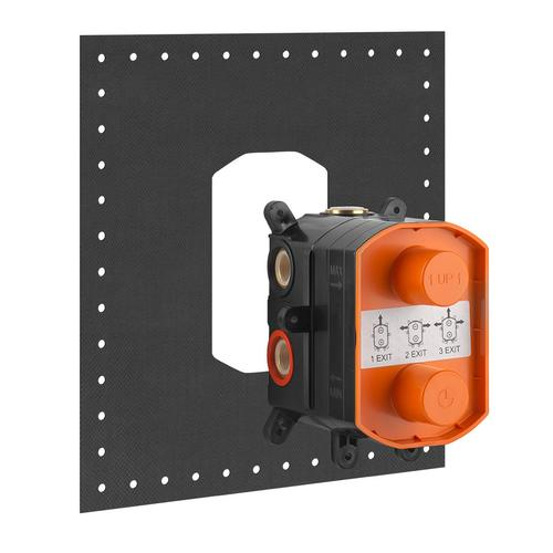 """In-wall thermostatic rough valve for 1/2/3-way diverter function 1/2"""" connections Vertical application Anti-scalding"""