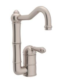 Acqui Single Hole Column Spout Bar and Food Prep Faucet - Satin Nickel with Metal Lever Handle