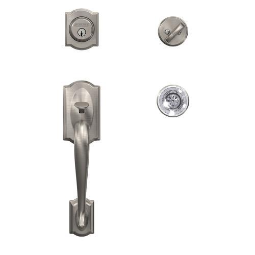 Custom Camelot Single Cylinder Handleset and Interior Hobson Glass Knob with Kinsler Trim - Satin Nickel