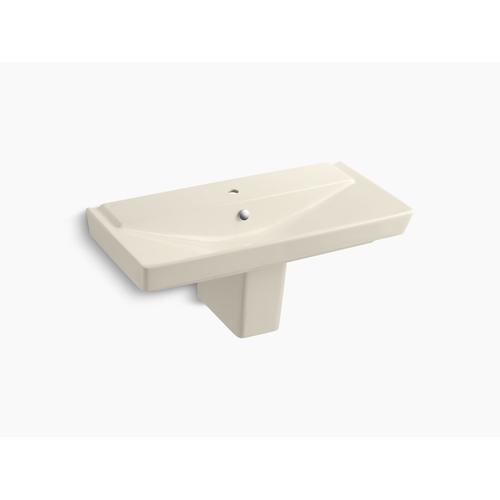 "Almond 39"" Semi-pedestal Bathroom Sink With Single Faucet Hole"
