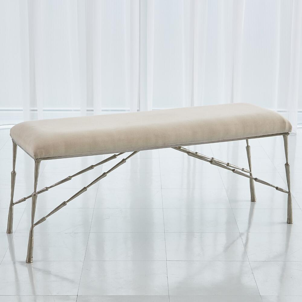 See Details - Spike Bench w/Muslin Cushion-Antique Nickel-Lg