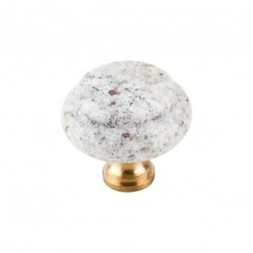 Top Knobs - Kashmire White Granite Knob 1 3/8 Inch - Brass