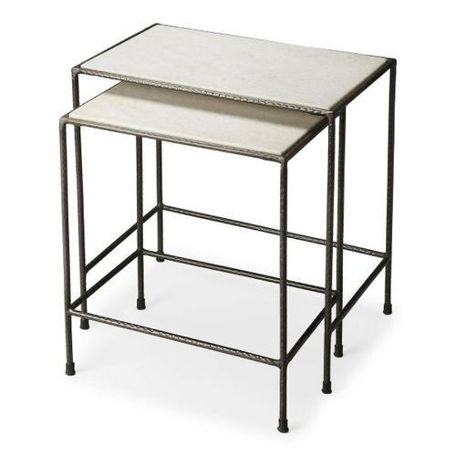 """Butler Specialty Company - Do you have space issues in your home"""" These iron and marble nesting tables have and attractive white marble top, their uses are numeral. These tables have been made using quality materials; in a contemporary style. Just use them and then tuck them away. Indeed they are a must have for home that have space issues, after use you can neatly tuck them away"""