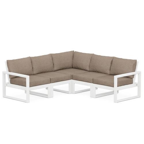 Polywood Furnishings - EDGE 5-Piece Modular Deep Seating Set in White / Spiced Burlap