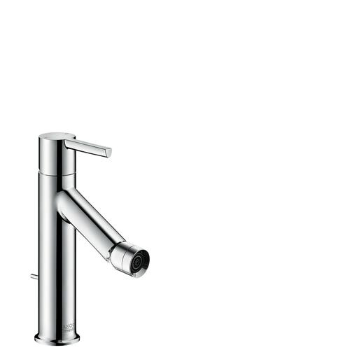 Brushed Nickel Single lever bidet mixer with lever handle and pop-up waste set