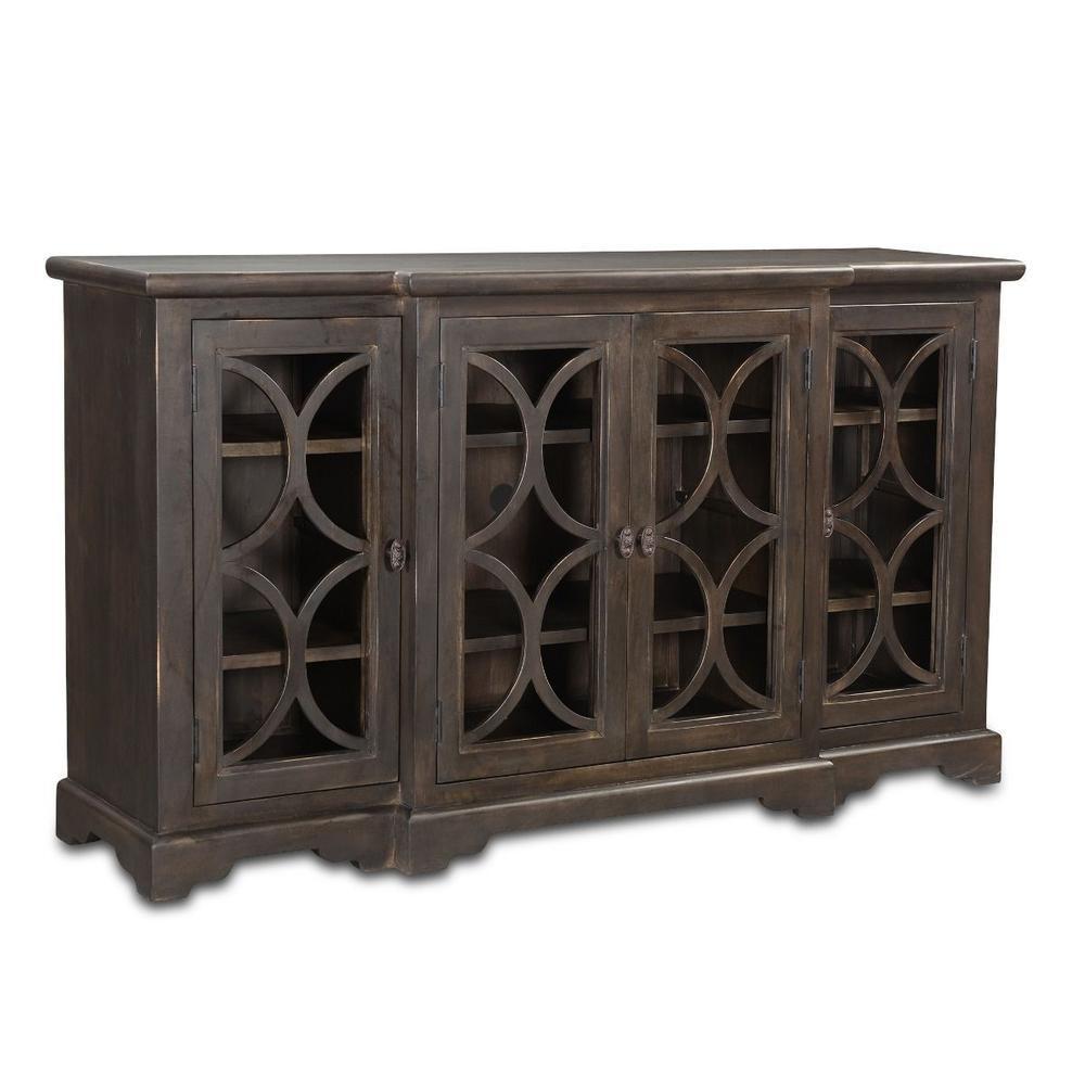 """Nimes 75"""" Glass Cabinet Vintage Java"""