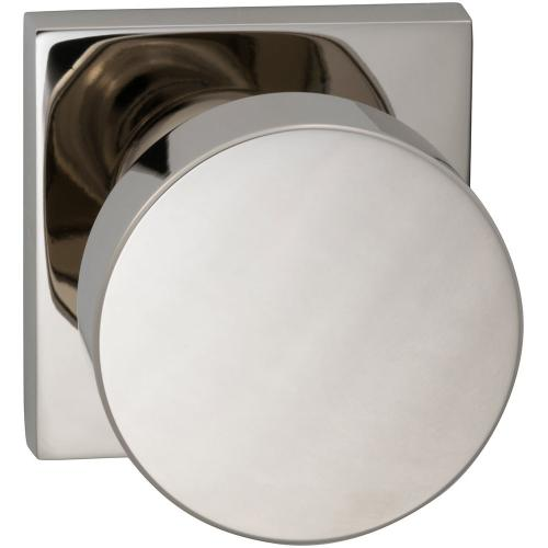 Interior Modern Knob Latchset with Square Rose in (US14 Polished Nickel Plated, Lacquered)