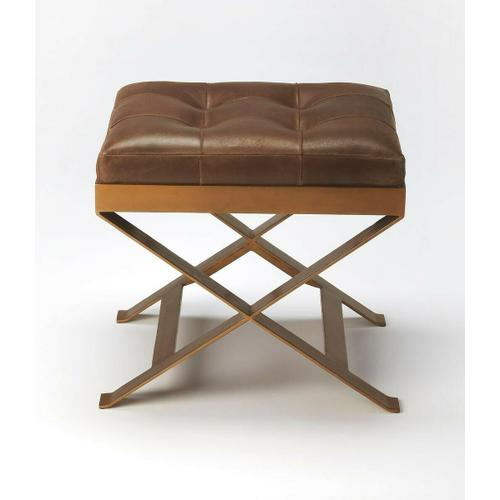 Butler Specialty Company - An updated version of the humble campaign stool, this charming ottoman adds extra seating and extra charm with buttery soft leather, hand-tufted in rich caramel. Brass finished metal frame adds durability, perfect for layering with a cozy throw or add a tray and it doubles as a cocktail ottoman.