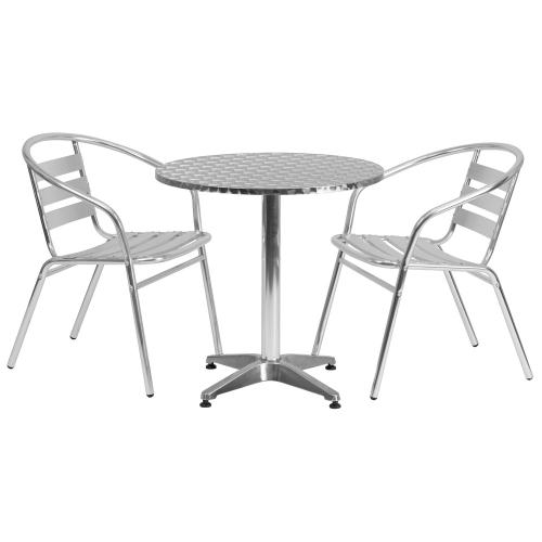 27.5'' Round Aluminum Indoor-Outdoor Table Set with 2 Slat Back Chairs